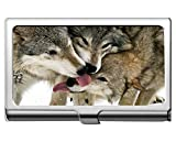 Professional Business Card Holder,Animal Wolf kiss Professional Business Card Holder