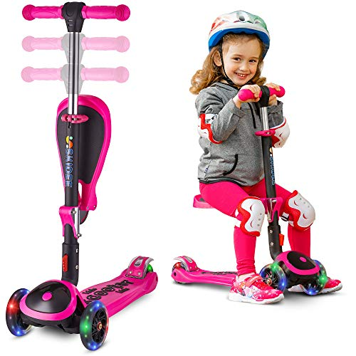 Scooter for Kids with Folding Seat - New 2-in-1 Adjustable 3 Wheel Kick Scooter for Toddlers Girls & Boys - Fun Outdoor Toys for Kids Fitness, Outside Games, Kid Activities - Boy & Girl Toys - Y200