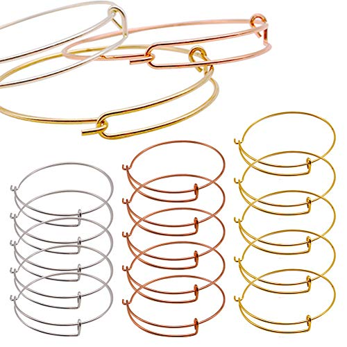 15PCS Bangle Bracelet, Adjustable Wire Bracelet Jewelry Findings Bulk Chain for Jewelry Making Chains (Silver, Gold and Rose Gold)