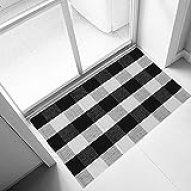 Ukeler 100% Cotton Plaid Rugs Black/White Hand-Woven Checkered Door Mat Washable Rag Throw Rugs, 23.5''x35.4'', Black and White Plaid Rug