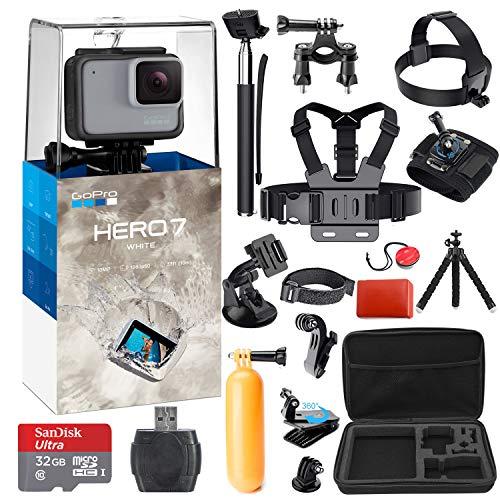 GoPro Hero 7 (White) Action Camera + 38 Piece Accessory Kit