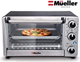 Toaster Oven 4 Slice, Multi-function Stainless Steel with Timer - Toast - Bake - Broil Settings,...