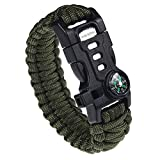 RNS STAR Paracord Survival Bracelet with Paracord Rope, 5-in-1 Tactical Bracelet Fire Starter, Compass, Emergency Whistle & Small Knife for Hiking Traveling Camping Gear Kit (Green_Regular)