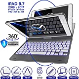 iPad Keyboard Case for iPad 2018 (6th Gen) - iPad 2017 (5th Gen) - iPad Pro 9.7 - iPad Air 2 & 1 - Thin & Light - 360 Rotatable - Wireless/BT - Backlit 10 Color - iPad Case with Keyboard (Space Gray)