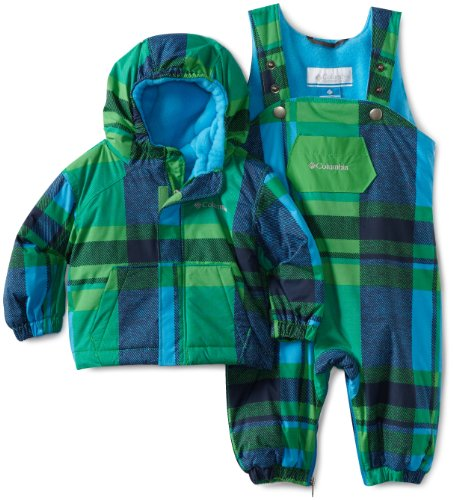 Columbia Unisex Baby First Snow Set, Fuse Green/Blue Plaid, 12 Months