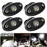 LEDMIRCY LED Rock Lights White Kit for JEEP Off Road Truck Auto Car Boat ATV SUV Waterproof High Power Underbody Neon Trail Rig Lights Underglow Lights Interior Exterior Shockproof(4PCS White)