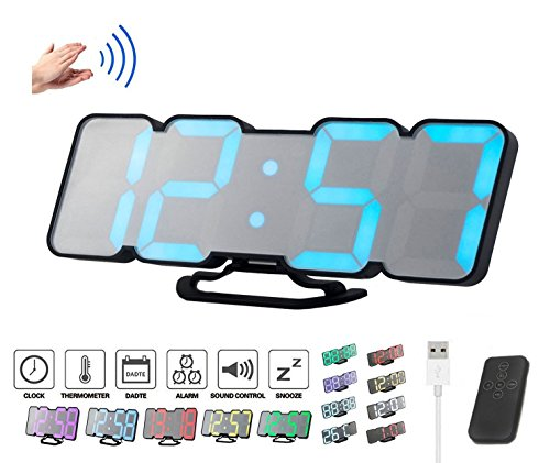 ZzPro 3D wireless remote control digital wall alarm clock, 115 color-changing LED digital, voice control mode, remote control, 3 levels of brightness adjustment