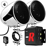 GoHawk TN4-R Amplifier 4' Full Range Waterproof Bluetooth Motorcycle Stereo Speakers 1 to 1.5 in. Handlebar Mount Audio Amp System Harley Touring Cruiser ATV UTV RZR, AUX, FM Radio (TN4-R Chrome)