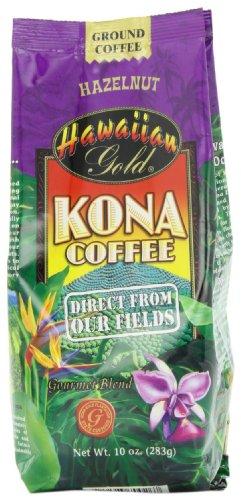 Hawaiian Gold Kona Hazelnut Ground Coffee, 10-Ounce (Pack of 3)