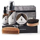 BEARD REVERENCE Premium Beard Grooming Kit for Men Care w/Upgraded Travel Bag – Organic Unscented Beard Oil, Beard Balm Butter Wax, Beard Wash, Scissors, Comb, Boar Bristle Brush with Gift Set Box
