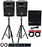 (2) Rockville RPG8 8' Powered PA Speakers+Active 15' Subwoofer+Stands+Cables