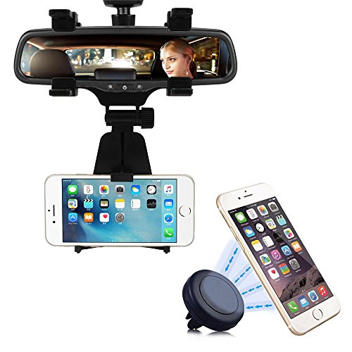 2-in-1 Car Mount, INCART Car Rearview Mirror Mount + Air Vent Magnetic Mount Holder Cradle for iPhone 6/6s/5s, Samsung Galaxy S7/S7 edge/S6, Cell Phones, Smartphone, GPS / PDA / MP3 / MP4 devices