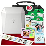 Fujifilm Instax Share SP-3 Smartphone Printer (White) with 60 Sheets of Instant Square Film with Platinum Bundle (USA Warrantty)