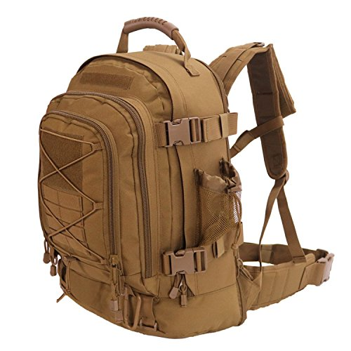 ARMYCAMOUSA Military Tactical Backpack, Large 3 Day Army Molle Assault Rucksack for Outdoors, Hiking, Camping, Trekking, Bug Out Bag & Travel by (Tan)