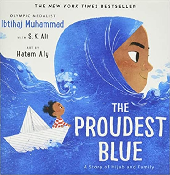 A book cover showing a little brown girl sailing across the ocean in a tiny boat made out of paper.  The ocean is a brown-skinned Muslim woman wearing a dark blue Hijab.  Her Hijab is the ocean water.