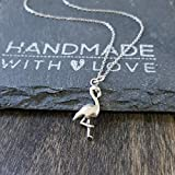 """Sterling Silver Flamingo Charm Pendant Necklace, 18"""""""