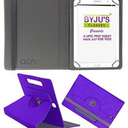 Acm Designer Rotating Leather Flip Case Compatible with Byju Learning Tab 10 Inch Cover Stand Purple