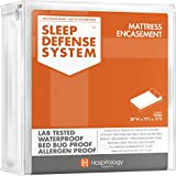HOSPITOLOGY PRODUCTS Sleep Defense System - Waterproof/Bed Bug/Dust Mites - PREMIUM Zippered Mattress Encasement & Hypoallergenic Protector - 38-Inch by 75-Inch, Twin - Standard 12'