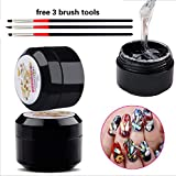 Nail Art 8ml Rhinestone Glue Gel Adhesive Resin Gem Jewelry Diamond Polish Clear Decoration With Pen Tools (UV Light Cure Needed) Thicker&More Sticky than Others By GADGETS ENTREPOT