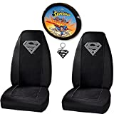 Silver Superman Seat Covers and Steering Wheel Cover Combo
