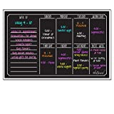 Ala Board 30012 Dry Erase Magnetic Weekly Calendar, Black Fluorescent