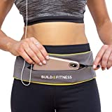 Build & Fitness Running Belt YKK Zip Pouch, Adjustable Waist with Key Clip - Fits Fuel Gel, iPhone 6,7,8plus,X, Samsung S7,S8,S9 - for Men, Women, Runners, Jogging, Gym, Yoga, Workout, Sports