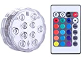 Qoolife Submersible LED Lights Remote Control Battery Powered, RGB Multi Color Changing Waterproof Light for Vase Base, Floral, Aquarium, Pond, Wedding, Halloween, Party, Christmas