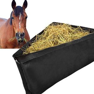 ASOOLL Horses Corner Feeder Deep Corner Hay Bag Goats Large Capacity Hay Feed Bags with Mesh Bottom and Snaps for Horse…