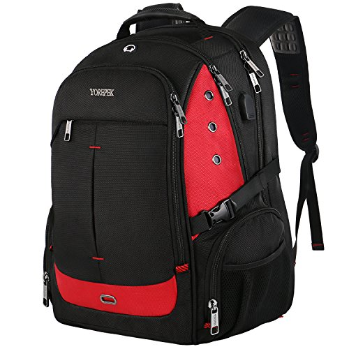 17 Inch Laptop Backpack, Extra Large Travel Backpacks with USB Charging Port for Business Women Men, Large Bookbag for College School Student,TSA Friendly Water Resistant Computer Bagpack,Red
