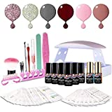 Maphie Gel Nail Starter Kit with UV Light, Mini 6 6ml Soak Off Gel Nail Polish, Top and Base Coat, Nail Art Manicure Tools Set
