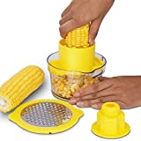 4-in-1 Cob Corn Stripper, Made of Food Grade PP Material, Easy to Use, Sturdy and Durable, Can Cut Ginger, Garlic, Cheese, and Potatoes - Yellow