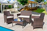 Homall 4 Pieces Outdoor Patio Furniture Sets Clearance Rattan Chair Wicker Set,Outdoor/Indoor Use Backyard Porch Garden Poolside Balcony Furniture (Brown)