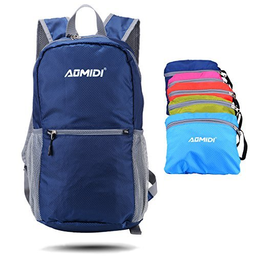 AOMIDI Hiking Daypack - Lightweight Packable Backpack Water Resistant,Small Backpack Handy Foldable Camping Outdoor Backpack Little Bag (Navy)