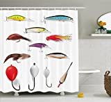 Ambesonne Fishing Decor Shower Curtain by, Netting Materials with Swivel Sinkers Fly Rods Floats Gaffs Recreational Pastime, Fabric Bathroom Decor Set with Hooks, 70 Inches, Multi