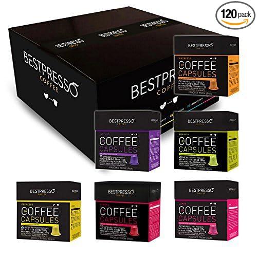 120 Bestpresso Nespresso Compatible Gourmet Coffee Capsules - Variety Pack - Natural Espresso Flavors - Nespresso Pods Alternative - Certified Genuine Espresso - 60 Days Satisfaction Guarantee