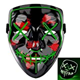 LED Halloween Mask,Scary mask with LED Light,Cosplay EL Wire Glowing mask for Halloween Festival Party (Green)