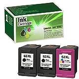 Limeink 3 Remanufactured Ink Cartridge 63XL 63 XL High Yield for Envy 4512 4520 Deskjet 3632 2130 2132 1110 3636 3637 1112 3630 3634 OfficeJet 3830 3833 4650 4652 4655 5255 5258 Printer Black Color