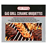 Chef Master 05004CM Ceramic Gas Grill Self Cleaning Briquettes, Replacement for Lava Rocks, Cleaner Cooking, Gas Grill Briquettes for BBQ Grill