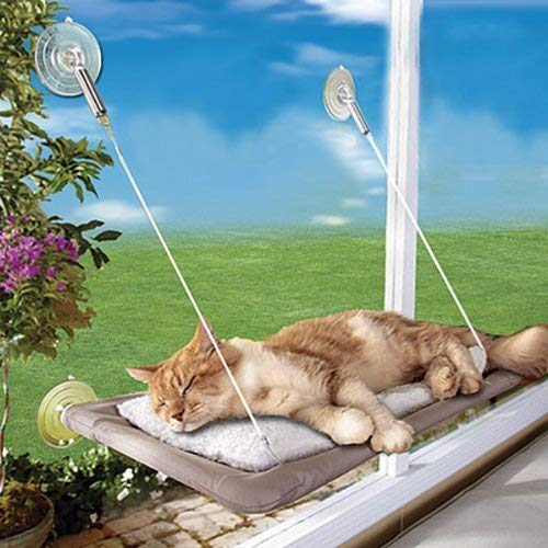 PETPAWJOY Cat Bed, Cat Window Perch Window Seat Suction Cups Space Saving Cat Hammock Pet Resting Seat Safety Cat Shelves - Providing All Around 360° Sunbath for Cats Weightedup to 30lb, Tan