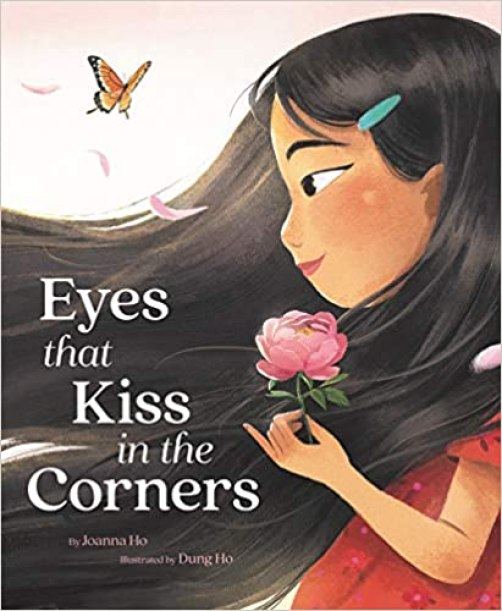A book cover image of an Asian girl.  She is wearing a short-sleeved red dress and holding a flower in her left hand.  Her long black hair is blowing in the wind and goes across the entire page.