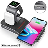 Mangotek Apple Watch Stand Wireless Charger for iPhone and iWatch, 4 in 1 Phone Charging Station with Lightning Connector and USB Port for iPhone 8/X/XR/7/6 and iWatch Series 4/3/2/1 MFi Certified