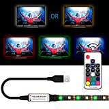 USB LED Strip Lights Kit, Bias Lighting with RF Remote Controller, IP65 Waterproof Flexible Strip Light, 5050 RGBW, 5V USB Cable TV Backlight Kit, Lighting Rope for TV, TV Lights, LED Strip (6.56ft)