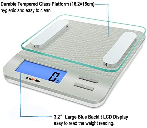 Accuweight 207 Digital Kitchen Multifunction Food Scale for Cooking with Large Back-lit LCD Display,Easy to Clean with Precision Measuring,Tempered Glass (Silver) 8