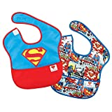 Bumkins DC Comics Superman SuperBib, Baby Bib, Waterproof, Washable, Stain and Odor Resistant, 6-24 Months 2-pack