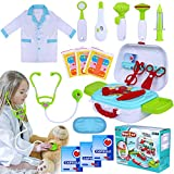 INNOCHEER Kids Doctor Kit 20 Pieces Pretend-n-Play Medical Toys Set with Roleplay Doctor Costume and Carry Case for Little Girls, School Classroom