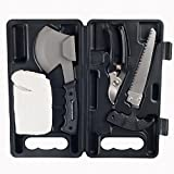 Camping Tool Kit, 4-Piece Multitool Outdoor Emergency Survival Set with Portable Carrying Case best for Camping and Hiking by Wakeman Outdoors