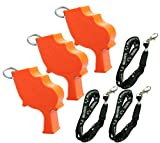 Storm World's Loudest Outdoor, Emergency, Safety, Marine, Police, Underwater, Survival Whistle | 3pk Bundle + Koala Lanyards, Orange