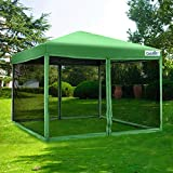 Quictent Ez Pop up Canopy with Netting Screen House Tent Mesh Side Wall-3 Colors 4 Sizes (Green, 8 Feet x 8 Feet)