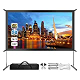 Projector Screen with Stand, Upgraded 120' 4K HD Outdoor/Indoor Portable Projector Screen 16:9 Foldable Movie Projection Screen with Carry Bag for Home Theater Camping Gaming Backyard Movie