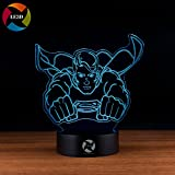 3D Optical Illusion Night Light - 7 LED Color Changing Lamp - Cool Soft Light Safe For Kids - Solution For Nightmares - DC Comics Justice League Superman